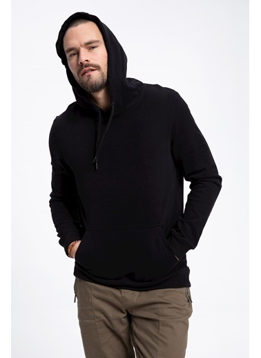 DeFacto Kapüşonlu Basic Sweatshirt Siyah